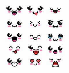 set faces kawaii style vector image