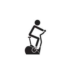 Stationary bicycle solid icon exercise bike vector