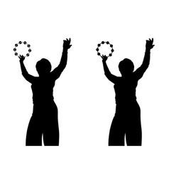 woman with tambourine vector image