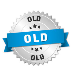 Old 3d silver badge with blue ribbon vector
