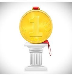 Golden medal with ribbon on column vector