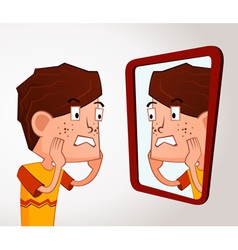 Boy with acne problem vector