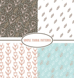 Collection of simple floral patterns vector