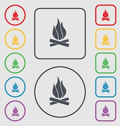 A fire icon sign symbol on the round and square vector