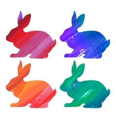 Ester color bunny set acrylic vector