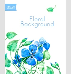 Blue watercolor summer flowers vector