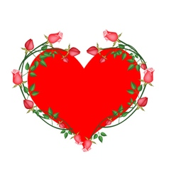 Red roses flowers in a heart shape vector