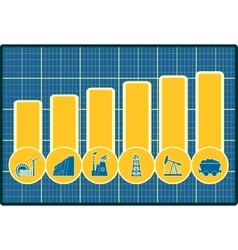 Energy and power icons set on chart diagram vector