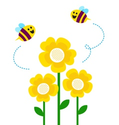 Bees flying around flowers vector
