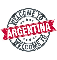 Welcome to argentina red round vintage stamp vector