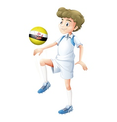 A player using the soccer ball with the flag of vector image vector image