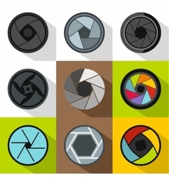 Aperture of photocamera icons set flat style vector
