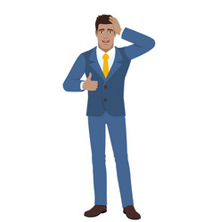 Businessman showing thumb up and grabbed his head vector