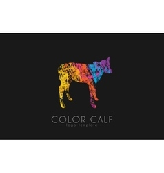Calf logo color calf animal logo cow kid vector