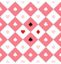 Card suits pink white chess board diamond vector