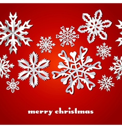 Christmas snowflakes red pattern vector image