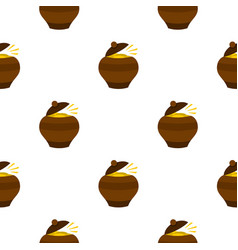 Clay pot full of gold coins pattern seamless vector