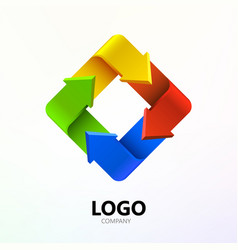 Colorful arrows in form of rectangle logo company vector