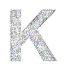 Colorful sketch font design - letter k vector