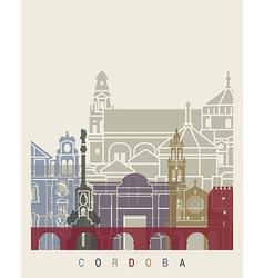 Cordoba skyline poster vector image vector image