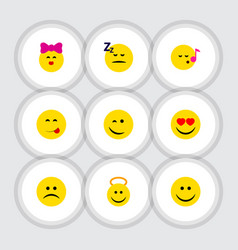 Flat icon emoji set of sad winking descant and vector