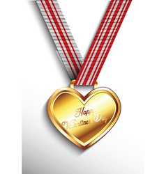 Gold heart necklace vector