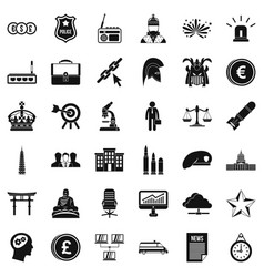 Goverment icons set simple style vector
