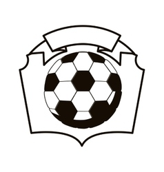 Gray scale emblem with soccer ball vector