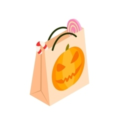 Halloween paper bag isometric 3d icon vector