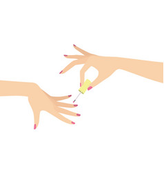 hands doing manicure vector image vector image