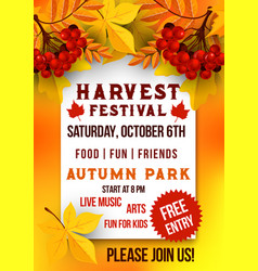Harvest festival of autumn season poster template vector