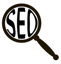Icon seo magnifying glass magnifies text word seo vector
