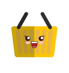 Kawaii shopping basket icon vector