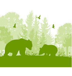 Landscape with two bears vector