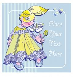 little girl flower vector image