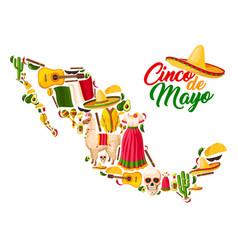 Mexican map with cinco de mayo holiday symbols vector