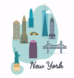 New york city travel map and landscape of vector