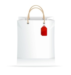 paper white shopping bag isolated on white vector image vector image