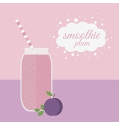 Plum smoothie in jar on a table vector