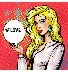 pop art beautiful girl with love speech vector image vector image