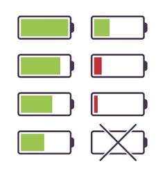 Set of battery charge icons vector image vector image