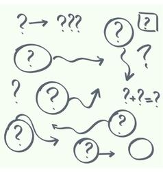 set of handwritten question marks vector image