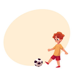 teenage caucasian boy kicking football ball at vector image