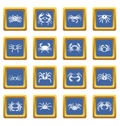 Various crab icons set blue vector