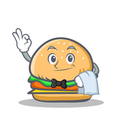 Waiter burger character fast food vector