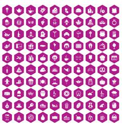 100 bounty icons hexagon violet vector