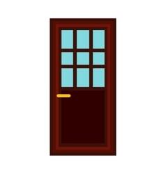 Classic interior wooden door icon flat style vector image