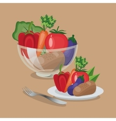 Vegetables organic and healthy food design vector