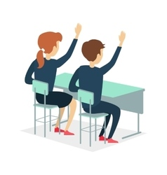 Two pupil sitting at a school desk vector