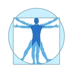 Human body icon of vitruvian man vector
